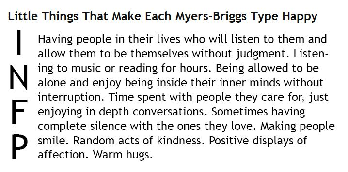 Little Things That Make Each Myers-Briggs Type Happy - INFP
