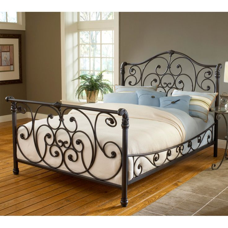 Mandalay iron sleigh bed by hillsdale furniture wrought for Wrought iron bedroom furniture