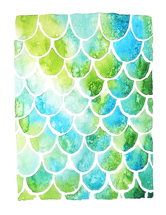 A cute design of mermaid scales in watercolor - perfect for a bathroom or girls bedroom. Gentle gradients of green and teal blue make this a pretty and soothing decorating choice. The natural texture of the watercolors adds interest to the scales.  Print may vary slightly in color and saturation from what you see on the screen, due to differences in color settings and the nature of printing. Print is 8.5x11 inches and Printed on 100% cotton fiber, acid free 260 g/m velvet fine art paper....