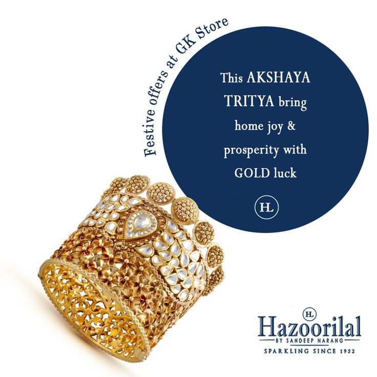 Catch a golden chance to avail unbeatable discounts on gold , diamond and polki jewellery only at #HazoorilalBySandeepNarang #akshaytritiya #HazoorilalOffers #Gold #Diamond #Polki #HazoorilalGK #Hazoorilal