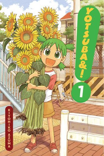 """Yotsuba&! 1"", by Kiyohiko Azuma - The curious and curiouser Yotsuba moves to a new town with her dad. In the process of moving in, Yotsuba encounters things like swingsets and broken door handles, which all bring about a never-ending torrent of questions and shrieks of amazement."