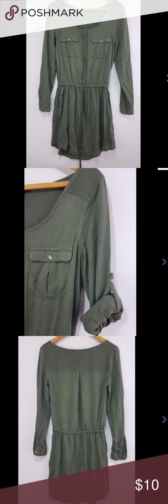 Dress Roll Up Sleeves Army Green Drawstring Sz XS American Eagle Dress Roll Up Sleeves Army Green Drawstring Sz XS  Measurements in pics American Eagle Outfitters Dresses Mini