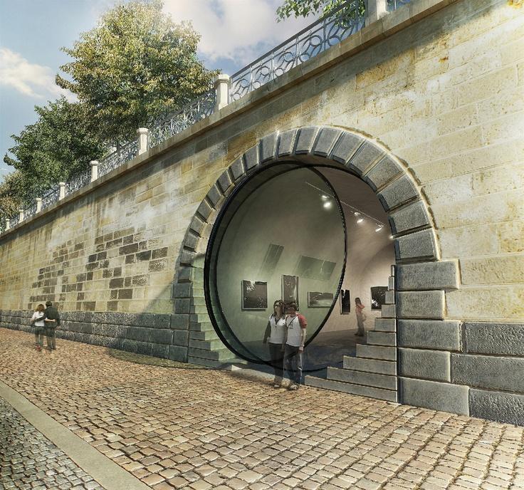 Galerie ve výklenku - architektonický návrh, jak využít niky v nábřežní zdi.