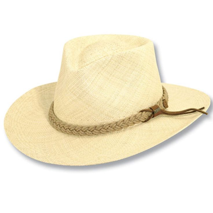 """Scala Clifton - Panama Straw Hat $113.00   The Clifton, from the Genuine Panama Outback Collection by Scala is a Panama straw outdoorsman hat. This hat features a 2 7/8"""" brim with a pinchfront crown. The Clifton boasts a braided jute trim and is adorned with a Scala hat pin. Also includes covered crown tips which provide excellent protection against cracking, which will increase the longevity and value of your Panama Hat."""