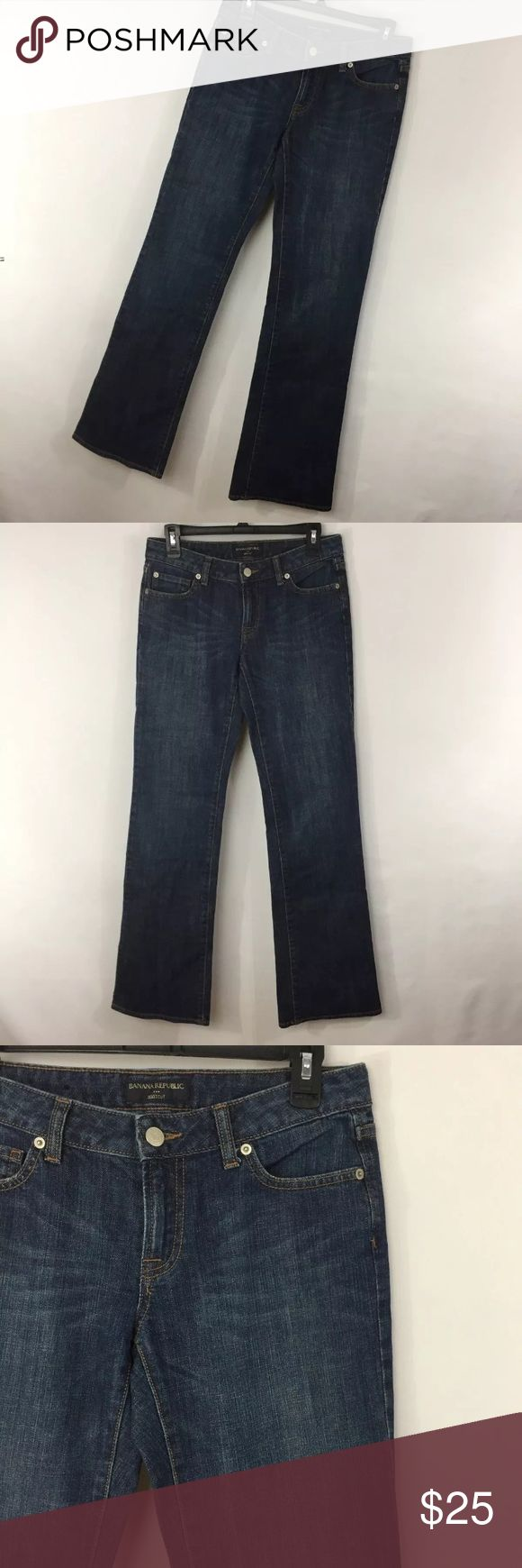 """Banana Republic 4L 4 Long Tall Jeans Dark Blue Banana Republic 4L 4 Long Tall Jeans Dark Blue Wash Bootcut Boot Cut Womens. Excellent condition. Smoke free home. Actual Waist Measurement - 30"""" Hips Measurement - 36"""" Rise measurement - 8"""" Inseam measurement - 35"""" Banana Republic Jeans Boot Cut"""