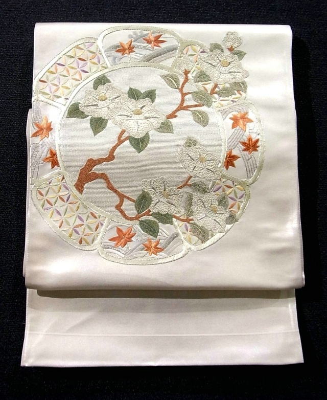 Vintage embroidered silk fukuro obi with classical picture plate and white camellia design