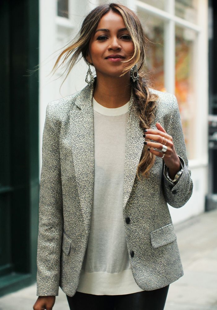 Gray blazer white blouse black pants. Street spring elegant formal clothing women style @roressclothes closet ideas apparel fashion ladies outfit