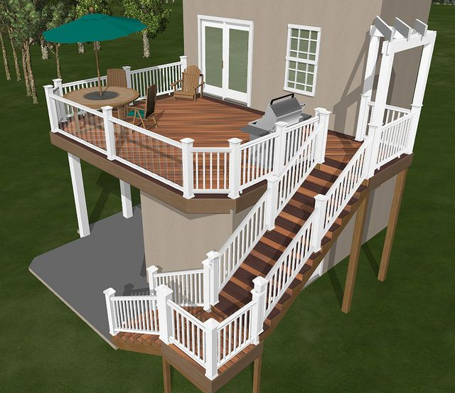 3D Custom Deck by Breyerconstruct, via Flickr    Check out the glass balusters...    Designed with Fiberon Horizon decking in mind..