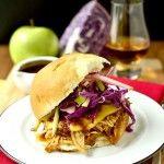 Crock Pot Bourbon Chicken Sammies with Crunchy Apple Slaw