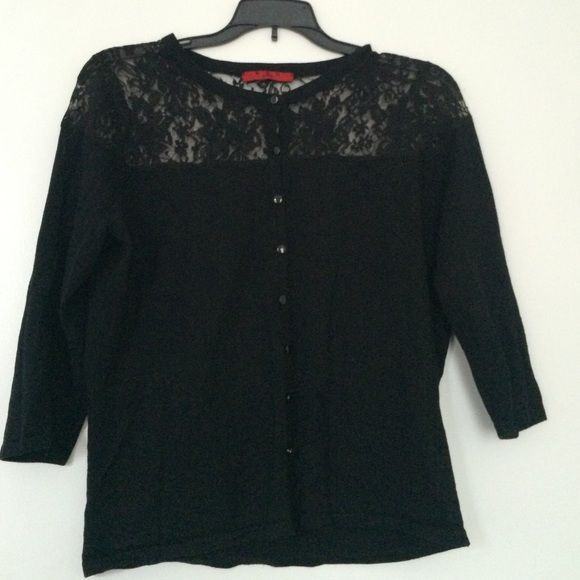 Black Lace Cardigan ❤️ Very cute, not too tight on the body, excellent overall condition fabric and lace, small hole on the lace right on seam, can be seamed for 5 minz with no damage to lace Red Sweaters Cardigans