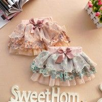 Cute Kids Girls Floral Skirt Lace Tulle Tutu Puffy Dress Bowknot Skirt 2-6 years 100% Brand New & Hi