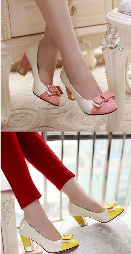 La nueva primavera y verano mujeres bombas punta redonda mujeres zapatos de tacón alto arco decoración del bloque del color lindo mujer zapatos de tacones altos en Bombas de las mujeres de Calzado en AliExpress.com   Alibaba Group