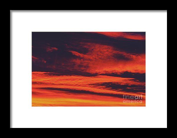 Beautiful Red And Orange Summer Sunset Sky Framed Print