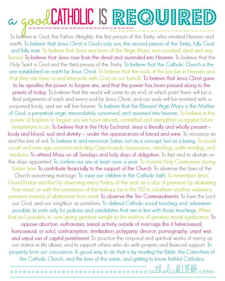 so many catholics (including myself) forget a few of these things from time to time. it's so important to read the catechism and study church doctrine to know how we must practice our faith
