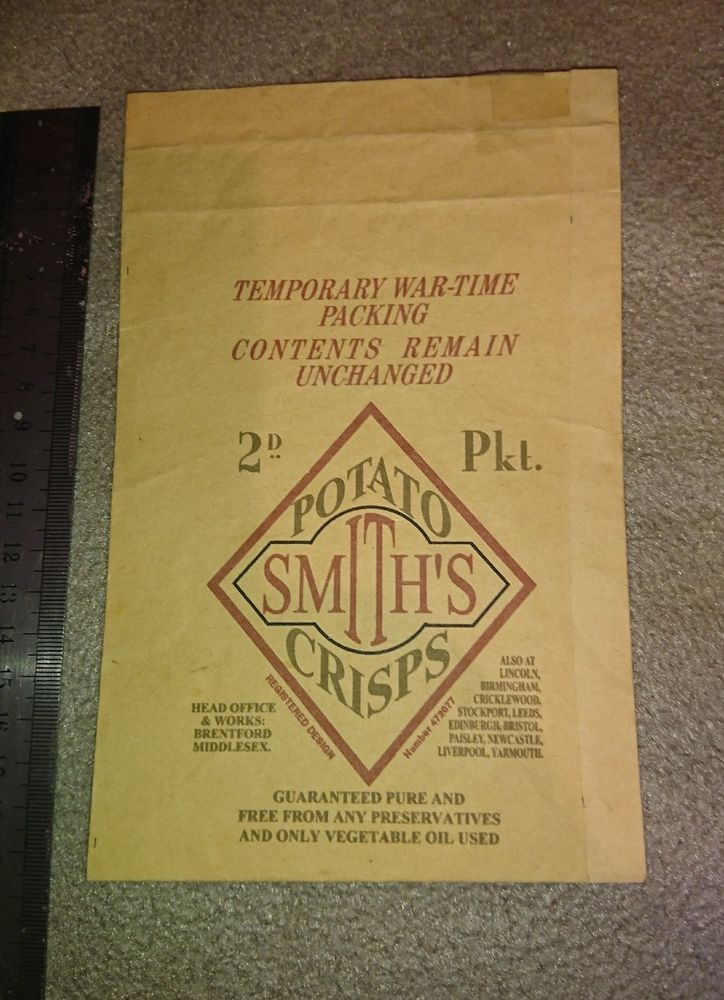 Very rare WW2 wartime Smiths Crisps packet