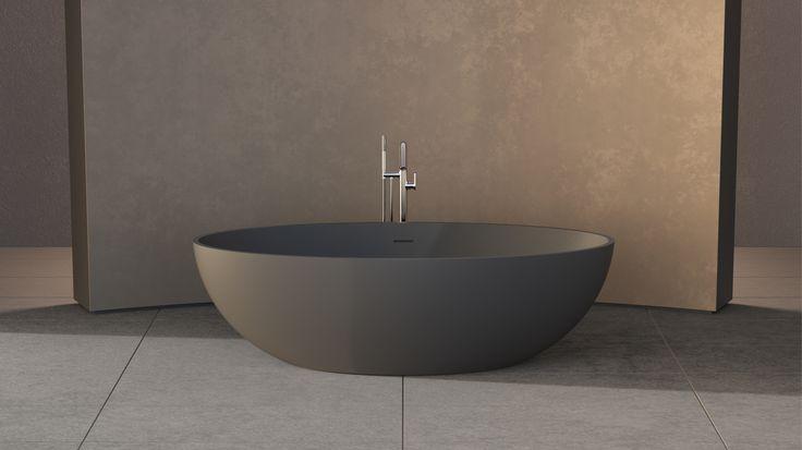 New Solidellipse Freestanding Bathtub Size : 1800x880x550mm Solid Surfaces In  Dark Grey matt Code :290190
