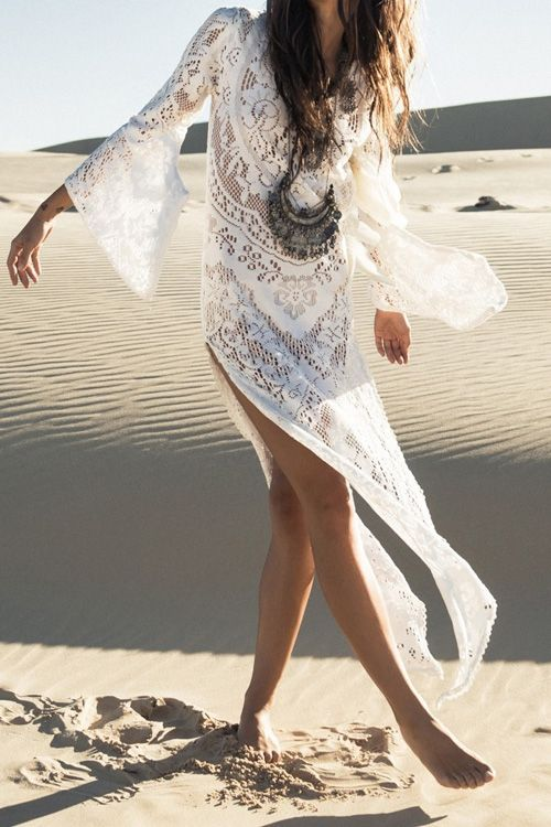 35719cd50e52 Long Sleeve Crochet Flower Open Back Maxi Dress   stylin'   Fashion, Dresses,  White maxi dresses