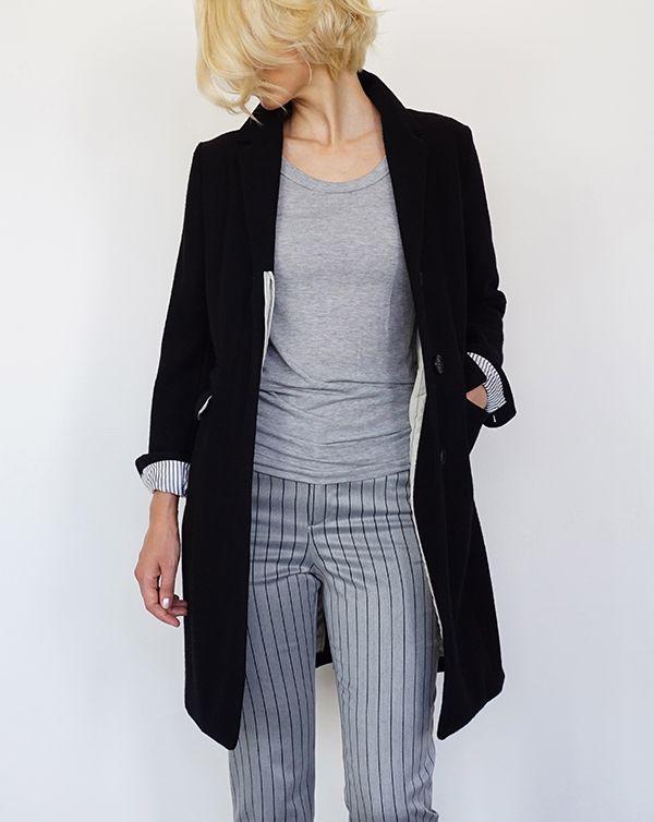 ITEM 2016AW AROMAS Bi-Color Chester Coat / Black Stripe Pants / Grey