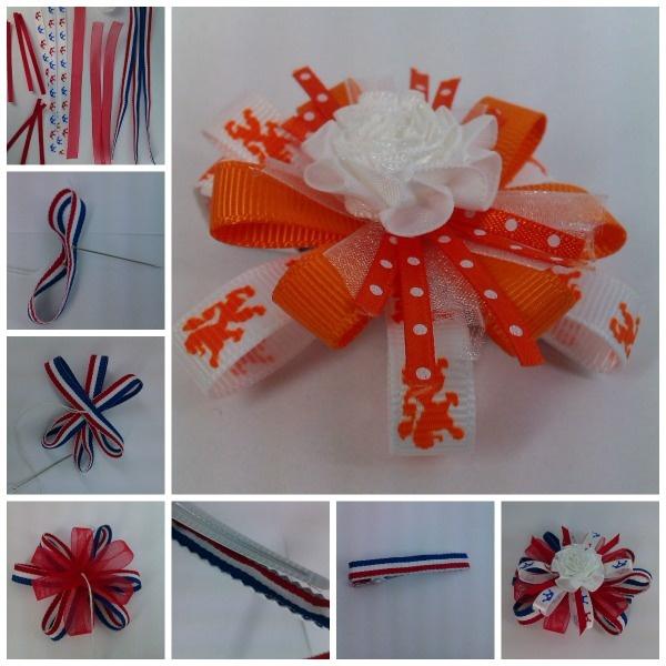 Kreatrends: Lintjes haarknip in rood, wit, blauw .... of oranje!