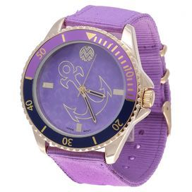 """Add an eye-catching touch to your ensemble with this vibrant watch, featuring a stainless steel case and anchor motif.  Product: WatchConstruction Material: Nylon, metal, and stainless steelColor: LavenderFeatures: AnalogDimensions: 1.77"""" W (face)"""