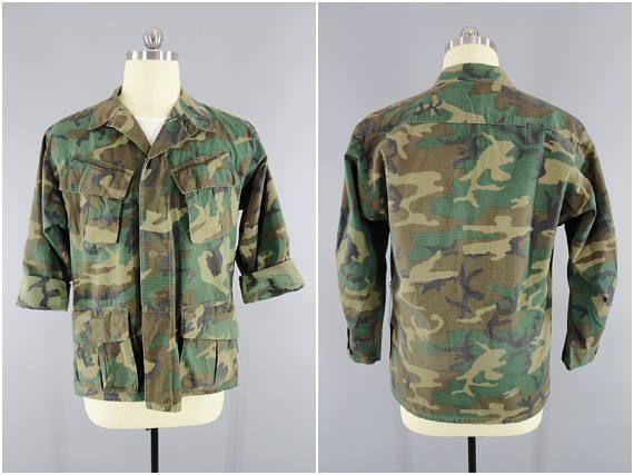 520adfe7f6c 1960s Vintage   Woodland ERDL Camo Jacket   Vietnam Era Camouflage   DSA  1969   Medium