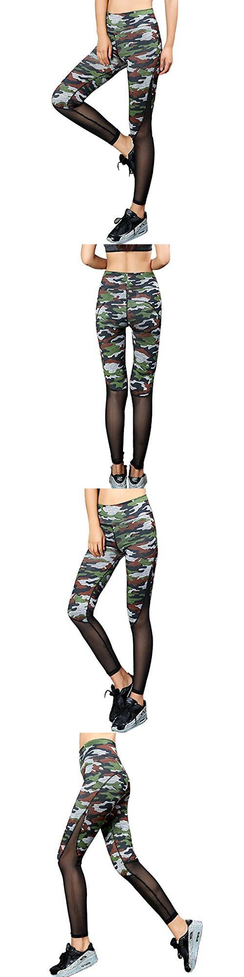 Tulucky Women's Mesh Patchwork Stretchy Workout Leggings Fitness Yoga Pants (S, camo)