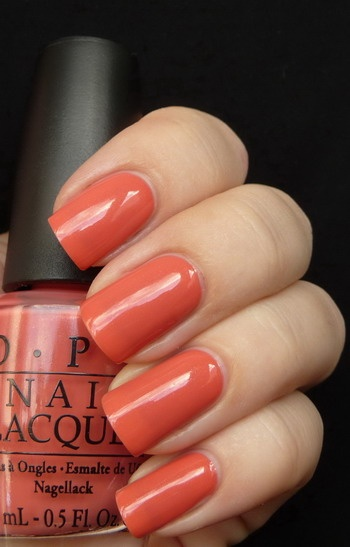 "Just bought this (OPI Are We There Yet?). Loving this ""salmon"" trend lately."