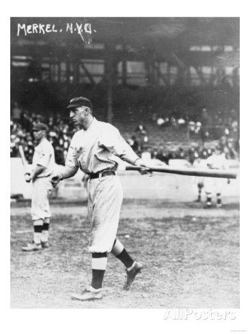 Fred Merkle, NY Giants - On May 13, 1911 the Giants scored a ML record 10 runs before the St. Louis Cardinals recorded an out.  Merkle drove in six of the 13 runs scored in the 1st en route to a 19-5 rout.