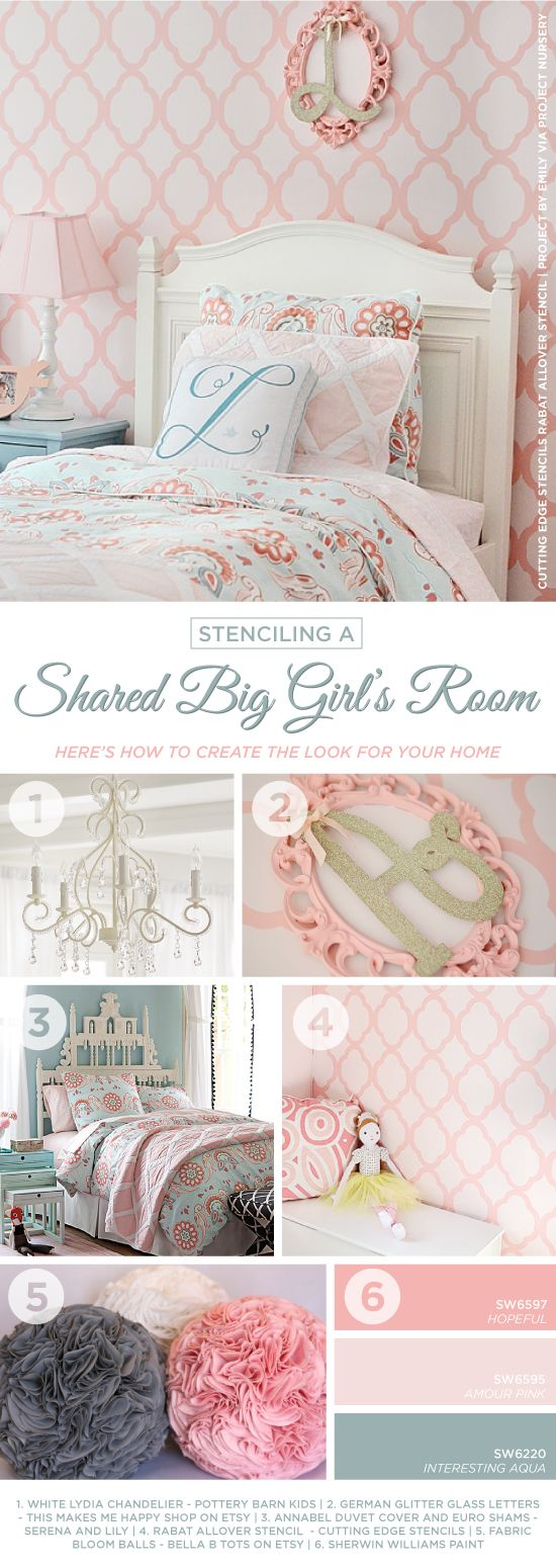 This is a coral and pink Rabat Allover stenciled little girl's nursery. http://www.cuttingedgestencils.com/moroccan-stencil-pattern-3.html