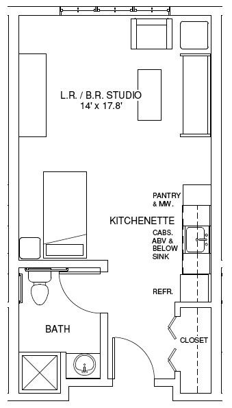 studio apartment floor plans | Studio Apartment