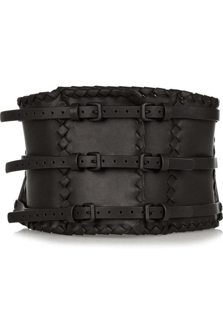 Bottega Veneta|Intrecciato-trimmed leather waist belt|NET-A-PORTER.COM
