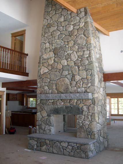 Pass Through Fieldstone Fireplace With Antique Granite