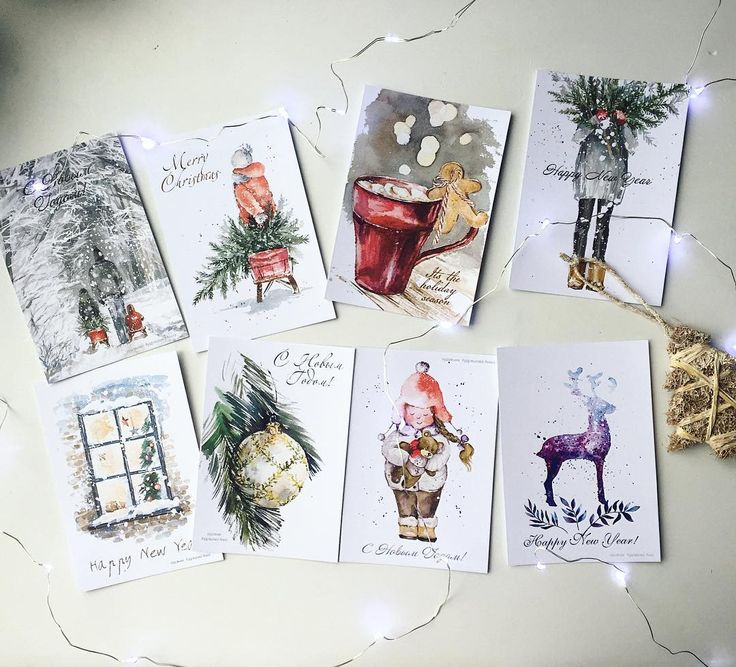 День, новогодние акварельные открытки для парня