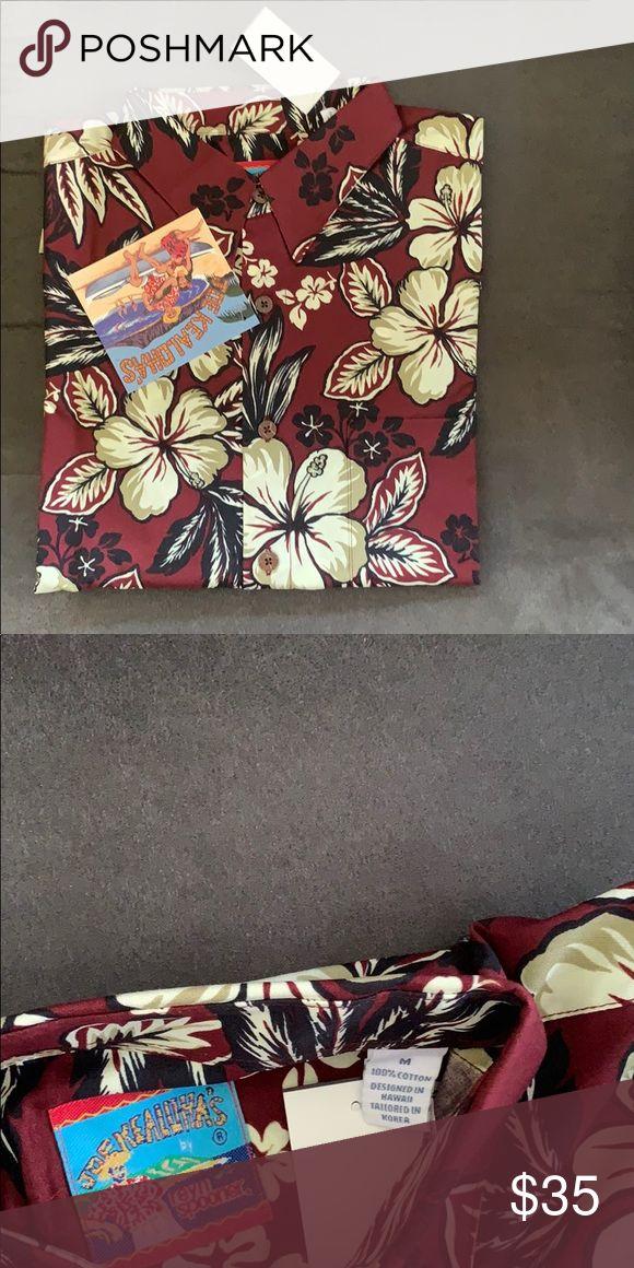 2310e3aa NWT Joe Kealoha's by Reyn Spooner Hawaiian Shirt NWT Joe Kealoha's by Reyn  Spooner Hawaiian Shirt Hibiscus Style Long Sleeve Maroon Co…