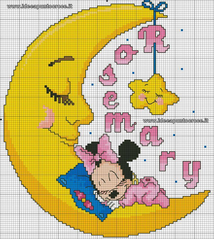 Luna a punto croce con baby minnie