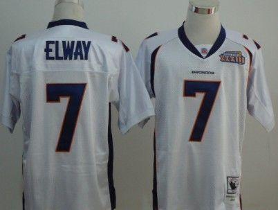 Denver Broncos #7 John Elway White Super Bowl Throwback Jersey