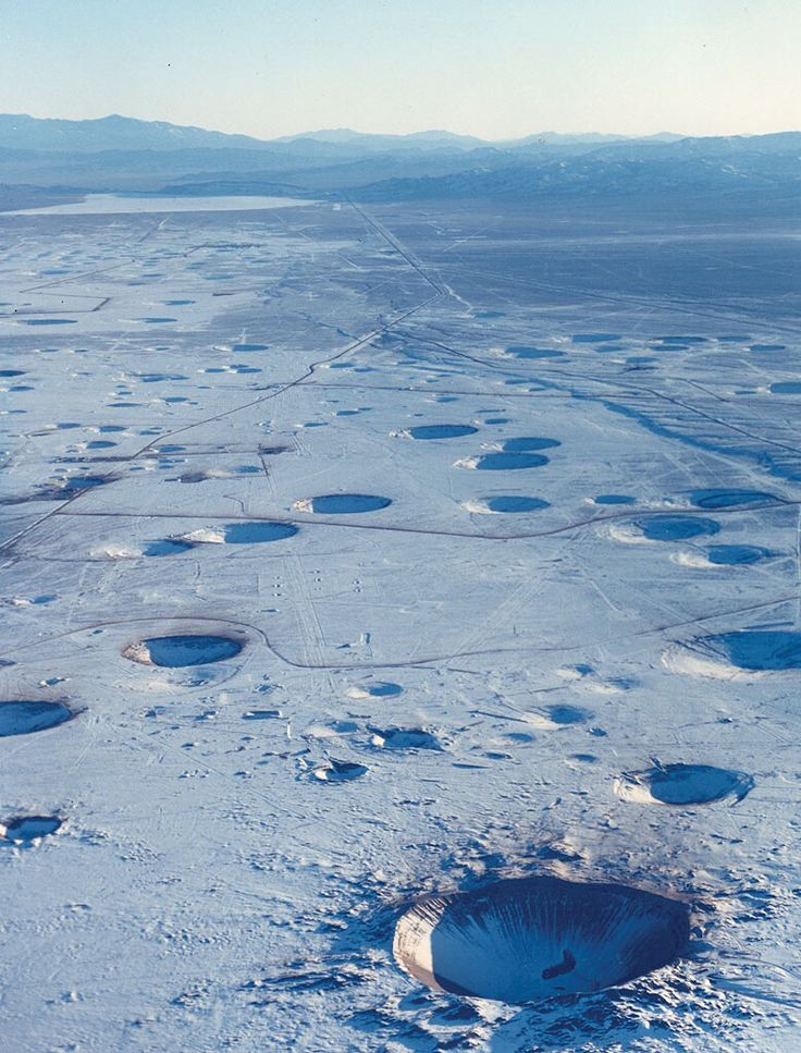 After 800 nuclear tests from 1951 and 1992, this is the view over the Nevada Test Site (formerly known as the Nevada Proving Grounds).