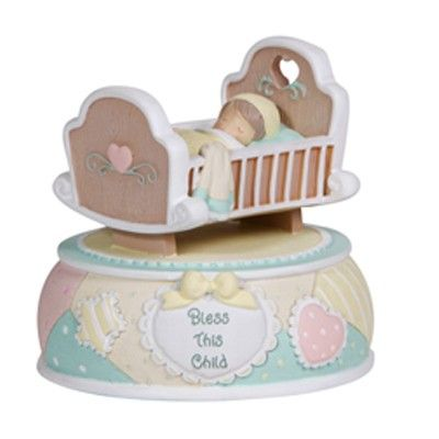 Precious Moments, Bless This Child, musical rocking crib for baby.