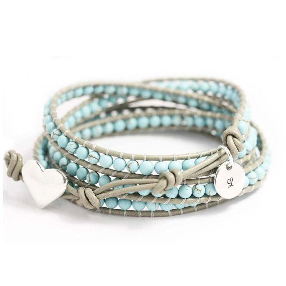 leather wrap turquoise bracelet