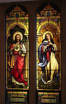 Stained glass windows at the Shrine of Our Lady of Good Help, Wisconsin