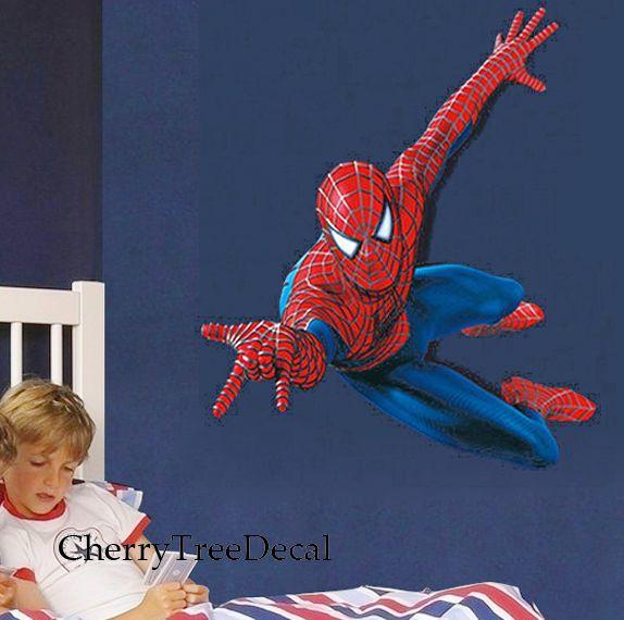 HUGE 110*90cm SPIDERMAN Wall Stickers Children Boys Bedroom Mural Wallpaper Art in Home, Furniture & DIY, Home Decor, Wall Decals & Stickers | eBay
