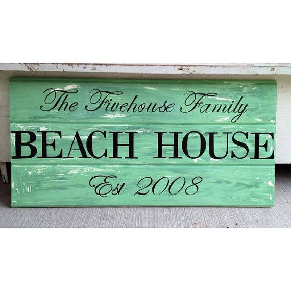Personalized Beach House Plaques: Beach House Sign, Custom Sign With Established Year And