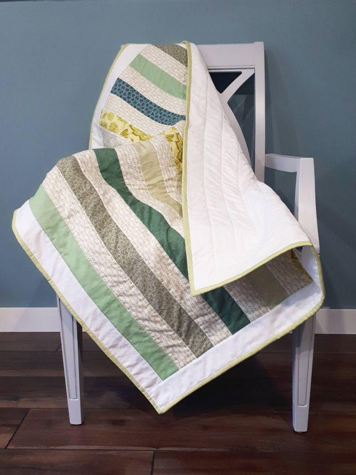 Baby Quilt, Modern Stripe, Bakeapple Designs, Small Quilt