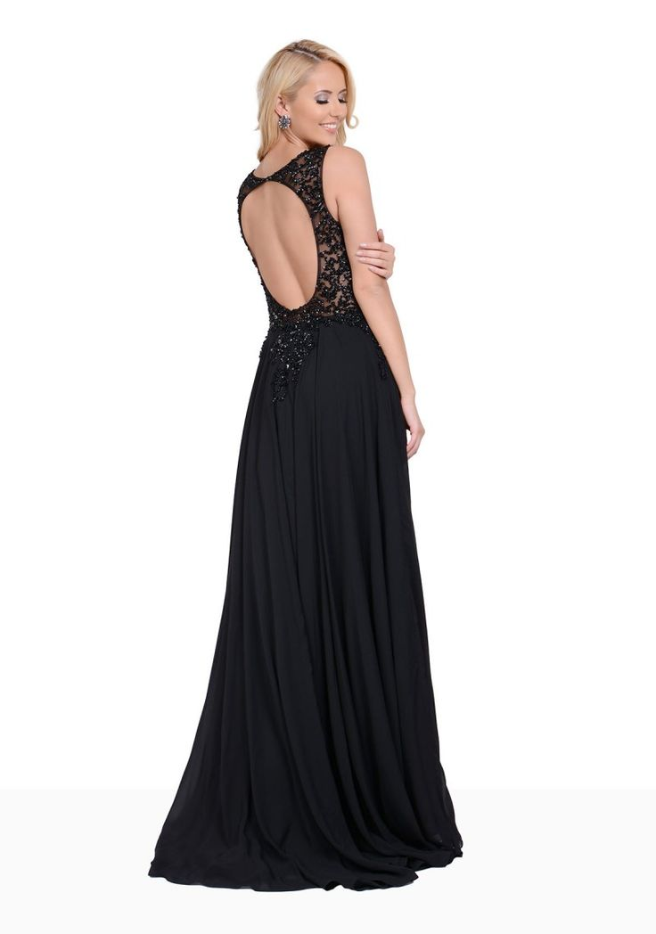 Chiffon Abendkleid mit kurzer Schleppe in Schwarz - bei VIP Dress günstig kaufen