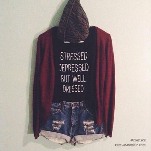 Outfit #50 - Black Racerback - Dark Blue Shorts - Red Cardigan - Dark Gray Crochet Beanie - Black and Red Vans