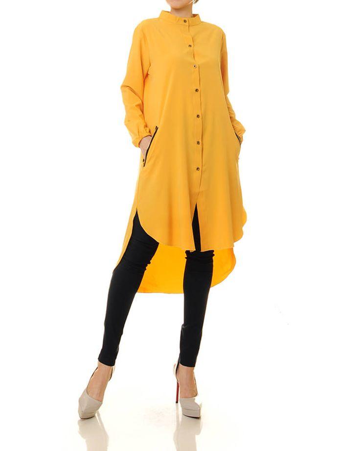 Yellow Tunic Dress | Long Tunic | Long Sleeve Tunic | Yellow Tunic Top | High Low Dress | Button Up Maxi Dress | Loose Top | Maxi Tunic 8158 by Tailored2Modesty on Etsy