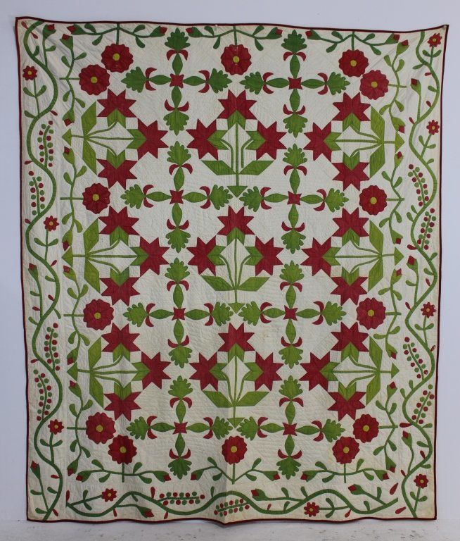 "Lot:1860 Applique Quilt ""Peonies"", Lot Number:181, Starting Bid:$200, Auctioneer:A-1 Auction, Auction:1860 Applique Quilt ""Peonies"", Date:07:00 AM PT - Jul 20th, 2014"