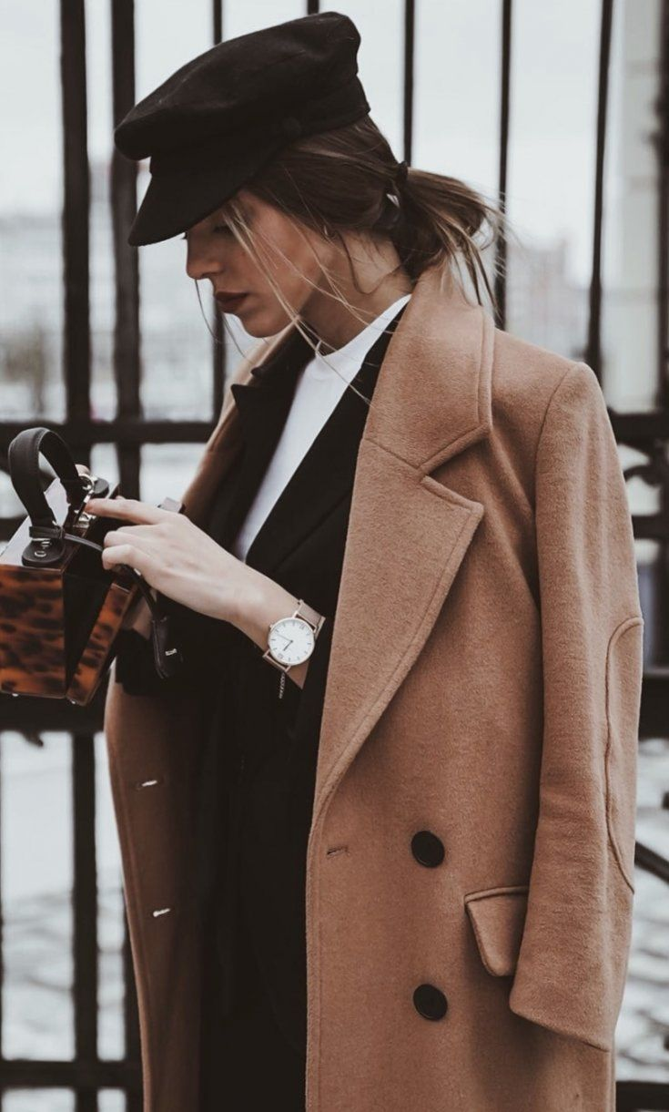 fall trends | black hat + brown coat + bag + blazer + white top