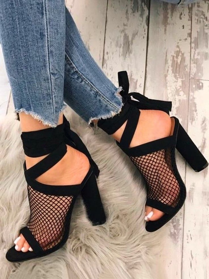Mesh Open Toe Slingback Chunky Heeled Pumps | Fashion! | Pinterest | Open toe, Pumps and Grunge shoes