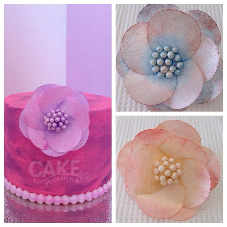 Tinted white Lindt chocolate ganache, wafer paper flower & pearls Mothers Day cake. www.cakebydesign.co.za